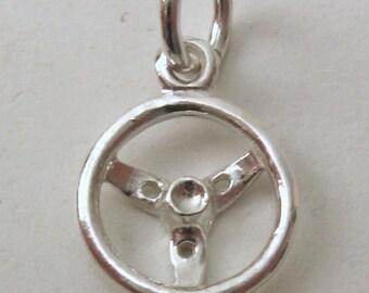 Genuine Solid 925 Sterling Silver Car Steering Wheel Charm/Pendant