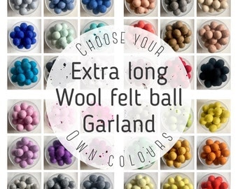 Party Garland, Felt Ball Garland, Nursery Decor, Wedding Garland, Birthday Bunting, Pom Pom Garland, Cake Smash Shoot, Hippie Curtains