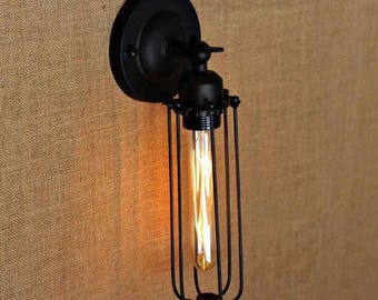 FREE BULB Industrial Vintage Wall Mounted Light / Lamp rustic look. Antique retro black cage sconce. Edison. Tube Long bulb filament modern