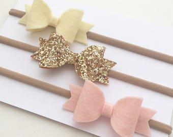 Lemon, Blush Wool Felt Bow with Gold Glitter Bow Headband Set, Mini Bow Headband Set, Baby Headbands, Felt Bow Bands.