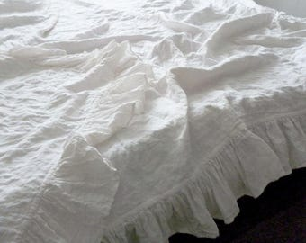 Linen Frilled Duvet Cover, Linen Duvet Cover with ruffles from four sides buttons closure 100% Natural Organic King Queen Ruffled bedding