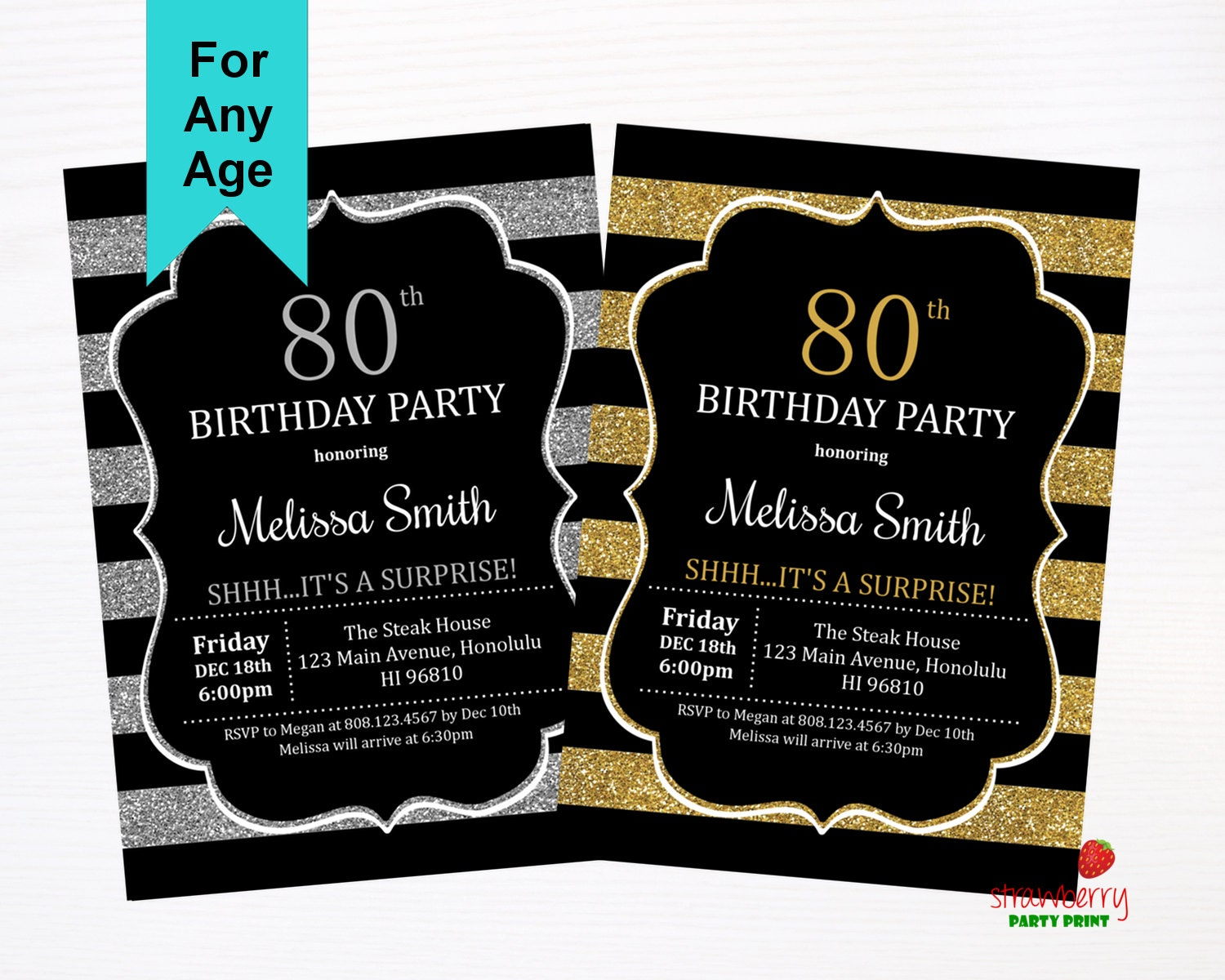 80th birthday invitations surprise birthday invitation adult 80th birthday invitations surprise birthday invitation adult birthday invitations gold glitter silver filmwisefo Image collections