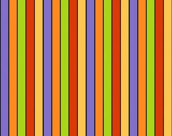 By The HALF YARD - The Count by Shelly Comiskey for Henry Glass, #6551-65, Purple Orange, Lime Green, Red, Yellow & Black Stripes