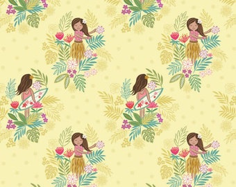 By The HALF YARD - Island Girl by Lewis and Irene, Pattern #A191.2 Island Girl on Sunshine, Hawaiian Hula and Surfer Girls
