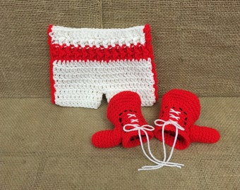 Crochet Boxer Set, Newborn Boxer Photo Prop, Boxing Gloves and Trunks, Baby Boxing Outfit