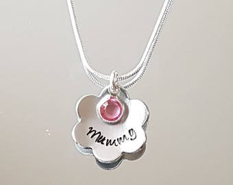 Personalised hand stamped flower pendant with birthstone necklace, any name can be added.