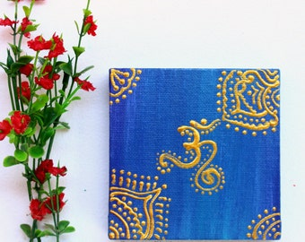 mini painting, mini canvas painting, small canvas painting, om canvas, om painting, small art gift, indian painting, indian canvas art