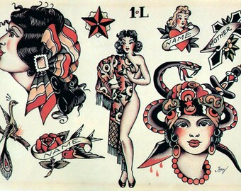 Sailor Jerry Temporary Tattoos - Vintage Temporary Tattoos - Old School Temporary Tattoos - Temporary Tattoos - Fake Tattoos