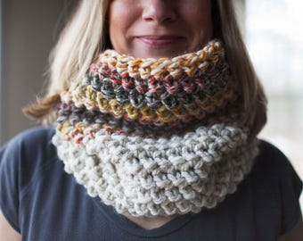 Ready to ship! Crocheted cowl neckwarmer // featured in the colors Wheat and Coney Island
