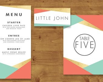 Aqua and Coral Geometric Place Cards, Table Numbers, Menu Cards - Coral Wedding - Aqua Wedding - Table Name - Name Card - Wedding Stationery