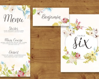 Vintage Pastel Floral Place Cards, Table Numbers, Menu Cards - Shabby Chic Wedding - Table Name - Name Card - Wedding Stationery