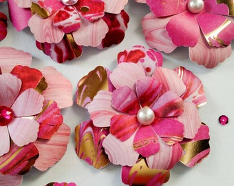 Pink and Gold Handmade Paper Flower Embellishments | Set of 11 Flowers | Rhinestones and Pearls