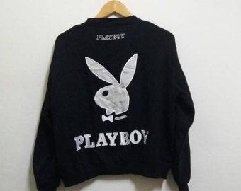 Vintage Playboy sweatshirt spellout big logo/black/medium/trending/fashion/jappanesse style