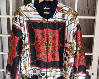 Vintage 80s boroque bomber pull jacket multiprint design fullprint /large/chain