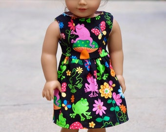Frogs With Butterflies, Flowers Spring, Summer to Fit Like American Girl Doll Clothes, Madame Alexander, 18 in Dolls, Bitty Baby