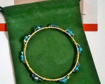 Blue Mixed Glass Bead Gold Wire Wrap Bangle Bracelet, Blue Glass, Pretty Bracelet, Pretty Bangle, Funky Bracelet, Blue