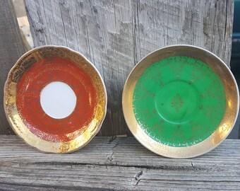 Antique Saucers, Tea Party Decor, Vintage Plate Decor, Set of 2