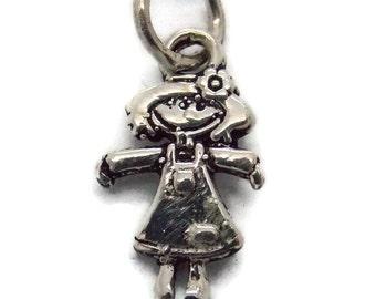 Little Girl Pendant Charm .925 Sterling Silver!!
