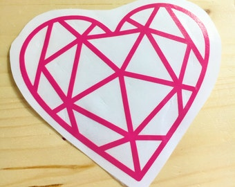 Geometric Heart Decal - Heart Decal  - Polygon Heart  - Poly Heart Decal - Custom Heart Decal - Valentine Day Heart Decal - Sweetheart Decal