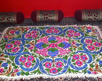 """Cashmere Handmade embroidery felted wool rug 6x4ft kilim tapis """"Namda"""" ***FREE SHIPPING***"""