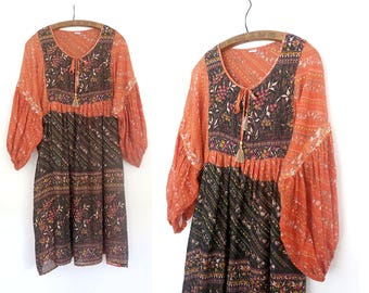 RESERVED>.  1970s bohemian tunic dress / vintage 1970s dress / vintage indian cotton dress