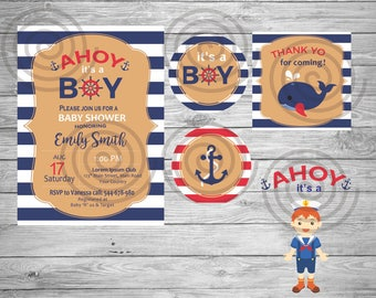 Invitación Baby Shower, Marinero, Nautica, Azul, Birthday, Rayas, Spanish, English