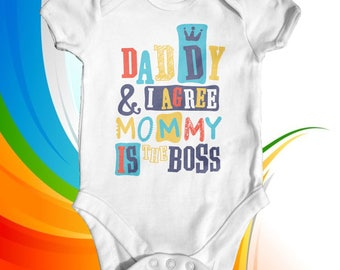 Daddy & I Agree baby bodysuit | baby shower gift | funny baby bodysuit | cute baby clothes | newborn baby clothes | slogan baby outfit