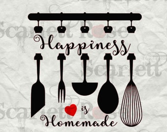 Happiness is Homemade Monogram SVG cutting file clipart in svg, jpeg, eps and dxf format for Cricut & Silhouette - Instant Download