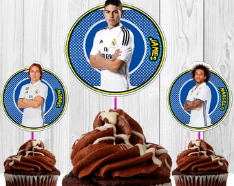 12 Toppers Cristiano Ronaldo and Real Madrid Friends for cupcakes download Instantaneous, printable, high quality, PDF file.