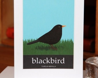 Greetings Card of a Blackbird (Card ID: WOSB001)