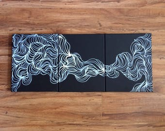 Black and White Abstract Triptych Original Acrylic Painting on Gallery Wrapped Canvas Art by Breanna Deis