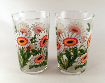 Retro tumbler glasses with a floral pattern