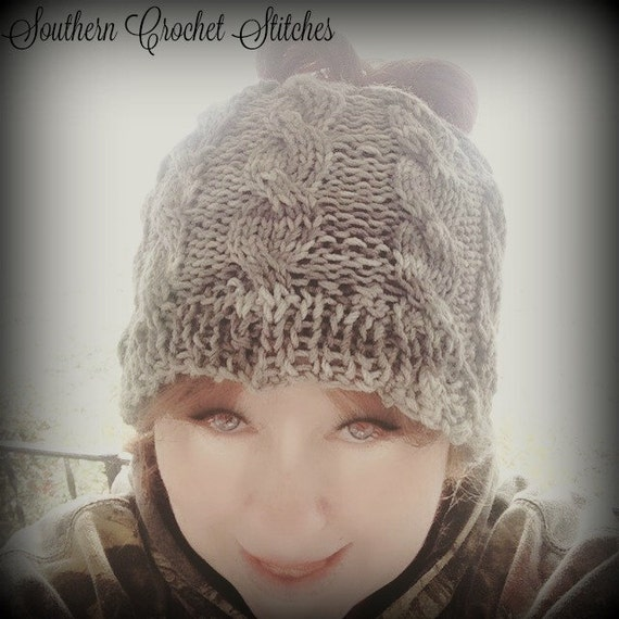 Southernhookedstitches - Two for Thirty Cabled Messy Bun Hat Sale 549ab8e2835
