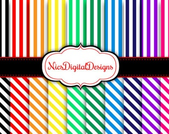 Buy 2 Get 1 Free-20 Digital Papers. Stripes 1 in Rainbow Colours (17D no 1) for Personal Use and Small Commercial Use Scrapbooking