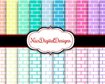 Buy 2 Get 1 Free-20 Digital Papers. Bricks in Pastel Colours (17E no 2) for Personal Use and Small Commercial Use Scrapbooking