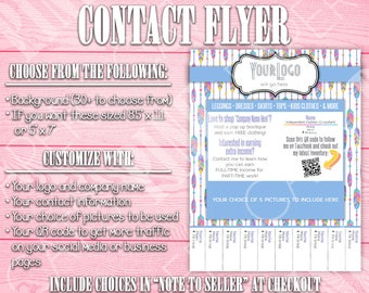 Contact Flyer | Tear-Off Tab | QR Code | Feathers