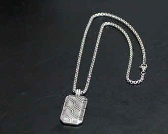 925 Sterling Silver ROUND BOX Chain with Rectangle Locket Necklace