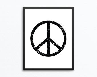 Peace Sign Print, Splattered Peace Sign, Peace Sign Printable, Hippie Print, Peace Sign Art, Digital Download, Printable Wall Art