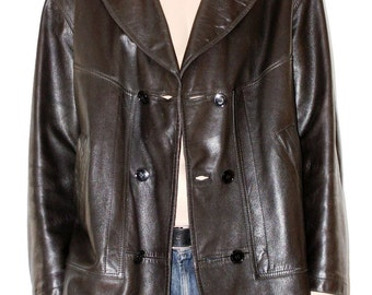 Double Breasted Leather Jacket, Leather Jacket, Black, Soft Leather Jacket, Size L, leather jacket, Black Leather Jacket, size 50/52