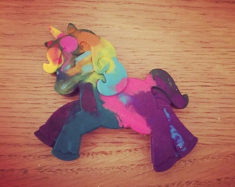 Rainbow Unicorn Crayon, multi coloured, arts and craft.