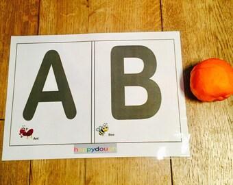 Learn the Alphabet happydough/playdough wipe clean mats.