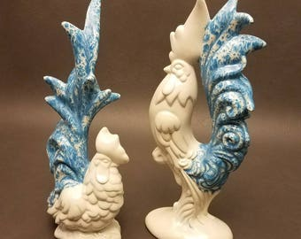 Vintage Arnel's Pottery Ceramic Rooster and Hen Set of (2)