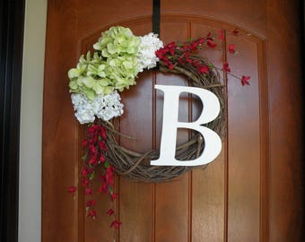 Spring Wreaths, Spring Door Decor, white Wreaths, Hydrangea Wreaths, Spring Wreath hydrangeas, red accents, Gift for Her