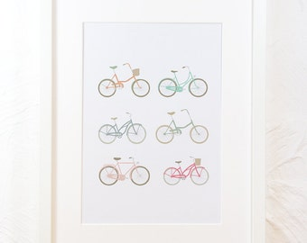 Bicycle Print, printable art, instant download, bike, cycle illustration, wall decor, cycling art, home decor cyclist bikes instant download
