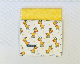 Baby Receiving Blankets, Gender Neutral Baby Blankets, Set of Two Baby Reciving Blankets, Flannel Baby Giraffe Baby Blankets
