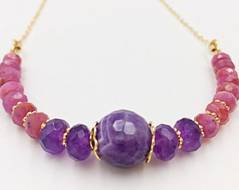 Ruby Amethyst Gold Filled Chain Stones Necklace, Ruby Jewelry, Natural Stones Bar Gold Jewelry, Amethyst Jewelry Women Gift, Faceted Stone