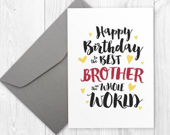 Printable Happy Birthday card for brother / Best Brother in the World card / Happy birthday greeting card for brother, birthday card for him