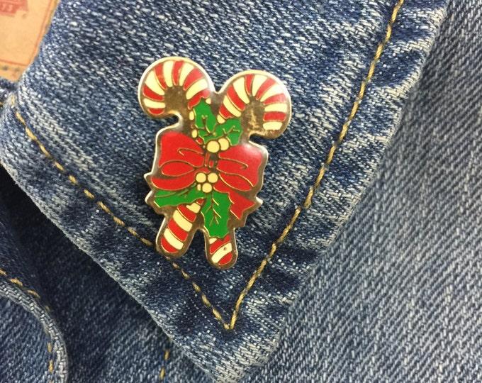 Vintage christmas candy cane enamel lapel pin (stock# 357) holidays, hat pin, pinback, flair, winter, santa