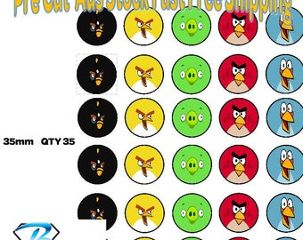 35x Angry Birds Edible Icing or Wafer Cupcake Toppers 35mm Cake Decorating
