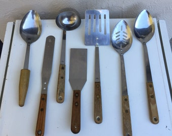 Vintage Wood handled Kitchen Utensils, Kitchen Tools, Spatulas